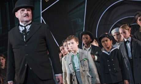 Stuart McQuarrie as Mr Snow and Ethan Hammer as Emil in the National Theatre production of  Emil and the Detectives