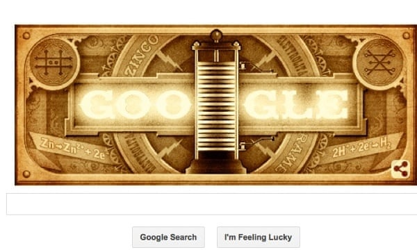 Google doodle for Alessandro Volta