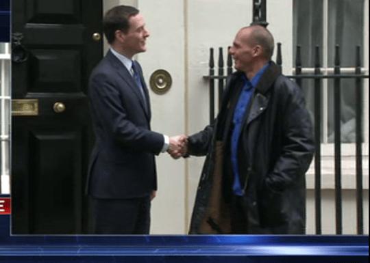 Yanis Varoufakis arriving at Downing Street