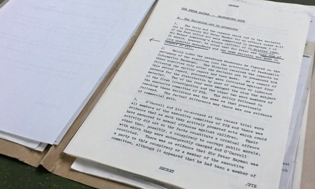 The file containing the allegations against Peter Hayman