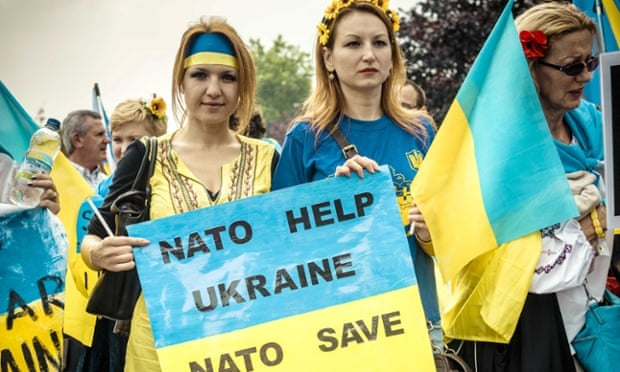 Pro-Ukraine and Nato demonstrators during the September 2014 summit in Newport, Wales