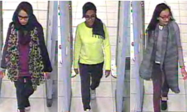 CCTV footage shows Shamima Begun, Amira Abase and Kadiza Sultana walking through security at Gatwick airport before boarding a flight to Turkey.