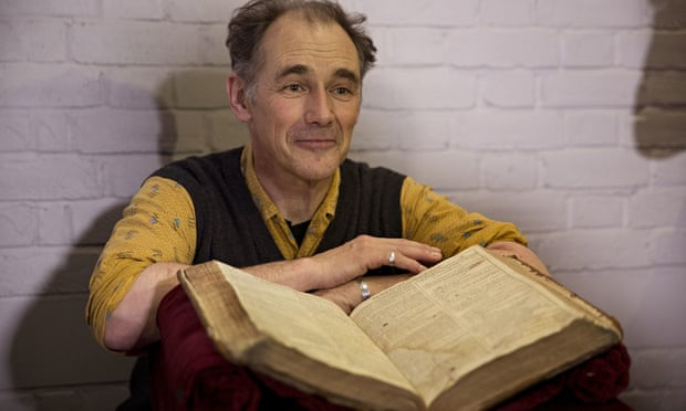 Mark Rylance with Shakespeare first folio