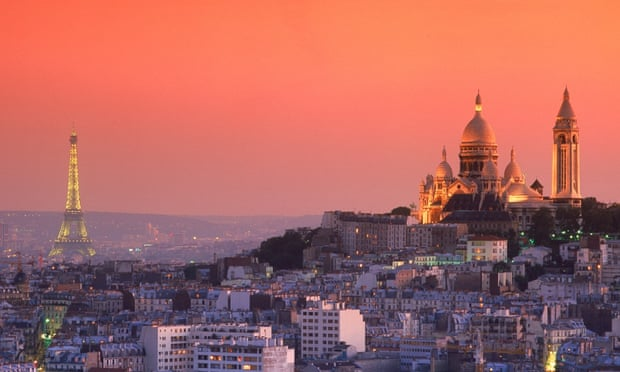 The Paris skyline at dusk.