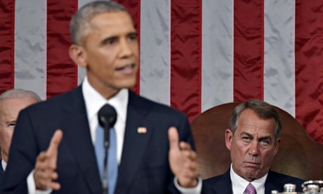 John Boehner listens as Barack Obama delivers the State of the Union address last month