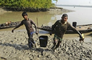 Villagers carrying oil removed from the river surface in Joymani village, Sundarbans, Bangladesh.