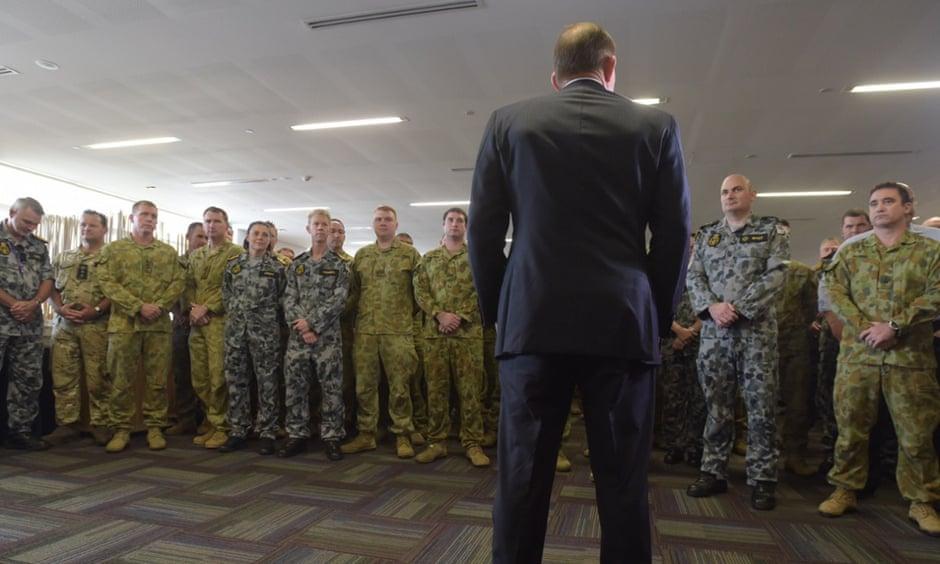 Tony Abbott speaks to troops