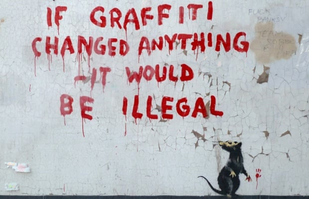 A new stencil and spray paint artwork, attributed to Banksy, in London, 2011.