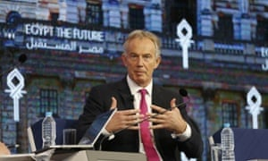 Tony Blair, the former British prime minister, speaks at the economic conference in Sharm el-Sheikh.