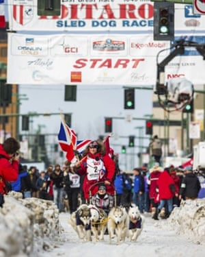 Canadian musher Rob Cooke is the first off the line at the ceremonial start of the Iditarod Trail Sled Dog Race in Anchorage, Alaska