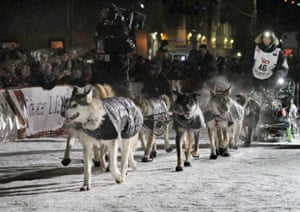 Veteran Alaska musher Dallas Seavey drives his dog team to a second consecutive victory of the Iditarod Sled Dog race