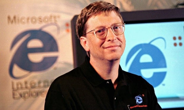 Bill Gates at the launch of Internet Explorer 4.0 in 1997.