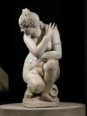 Marble statue of a naked Aphrodite crouching at her bath, also known as Lely's Venus. Roman copy of a Greek original (AD2). Photograph: Queen Elizabeth II 2015