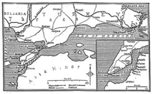 Map of the Dardanelles straits and the Gallipoli peninsula which accompanied the Manchester Guardian's first articles on the landings, published on 27 April 1915.