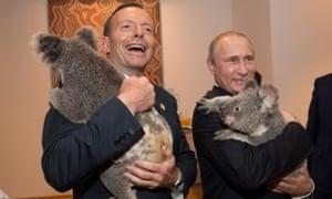 Vladimir Putin se encontram Jimbelung o koala antes do início da primeira reunião do G20 em 15 de novembro.