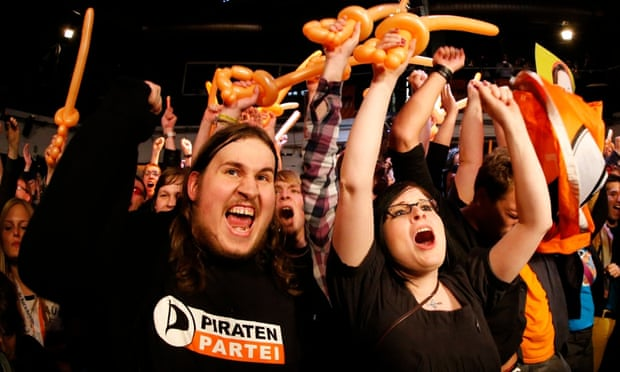 Supporters of the Pirate party in Germany.