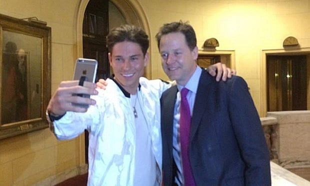 Photo taken from the Twitter feed of @nick_clegg of the Liberal Democrat leader Nick Clegg meeting Joey Essex from ITV's The Only Way Is Essex after a press conference in Westminster