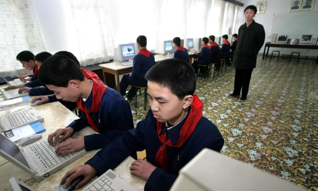 A computer class in the North Korean capital of Pyongyang. Suki Kim says that her students had never heard of Facebook. Photograph: Peter Parks/AFP/Getty Images
