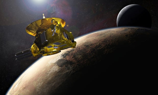 An artist's impression of New Horizons approaching Pluto and one of its moons.