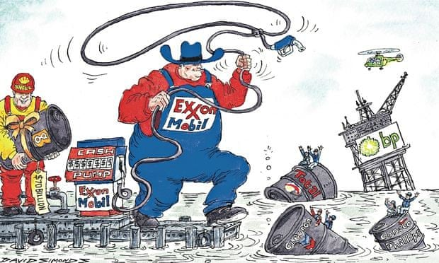 David Simonds cartoon showing oil firms preparing for mergers