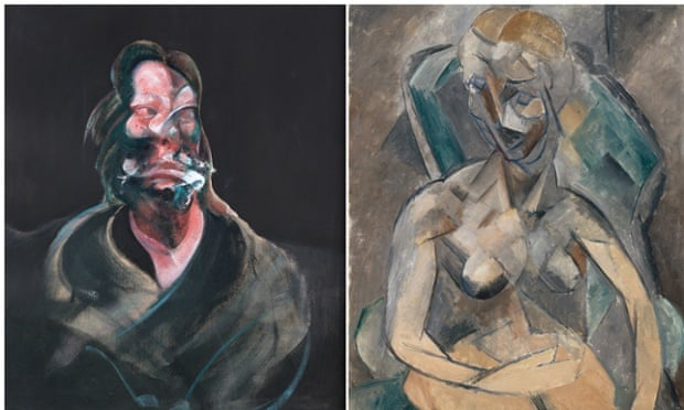 Portrait of Isabel Rawsthorne,1966, with Francis Bacon, with A Young Lady, 1909, by Pablo Picasso
