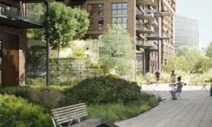The 'sustainable green backbone' proposed to weave through Nine Elms.
