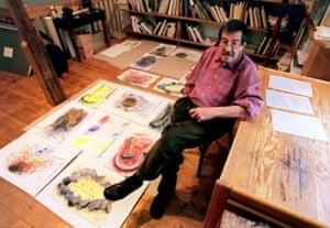 Günter Grass with some of his drawings at his home in Behlendorf.