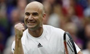 Andre Agassi at Wimbledon.