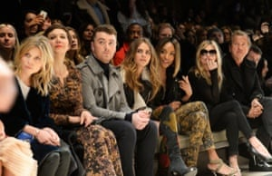 Clemence Posey, Maggie Gyllenhaal, Sam Smith, Cara Delevingne, Jourdan Dunn, Kate Moss and Mario Testino at the Burberry Prorsum AW 2015 show