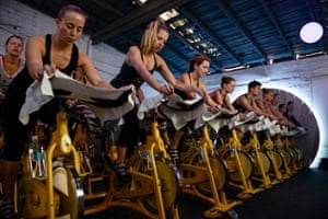 A SoulCycle class at the Spotify House during SXSW
