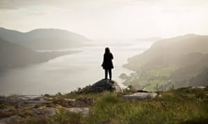Campaigner Anne-Line Thingnes Førsund looks out over Norway's Førde Fjord, where the mining company Nordic Mining has been approved to dump 6m tonnes of waste a year.