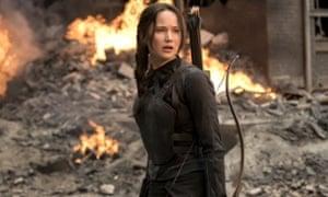 Jennifer Lawrence as Katniss Everdeen in The Hunger Games: Mockingjay – Part 1