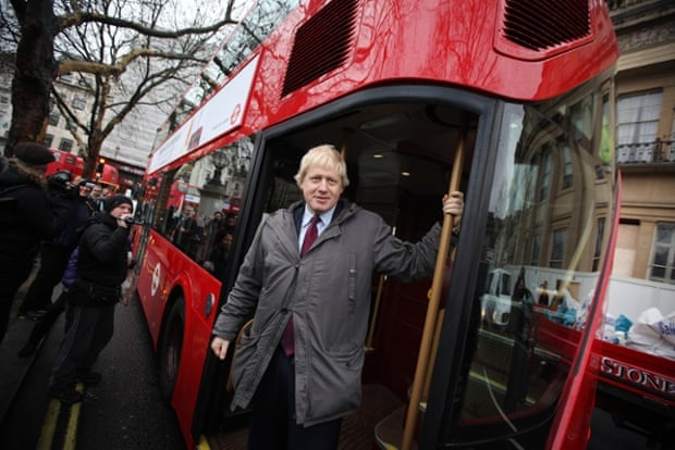 Boris Johnson in 2011, launching Thomas Heatherwick's new Routemaster buses, 'their blinginess at odds with the originals'.
