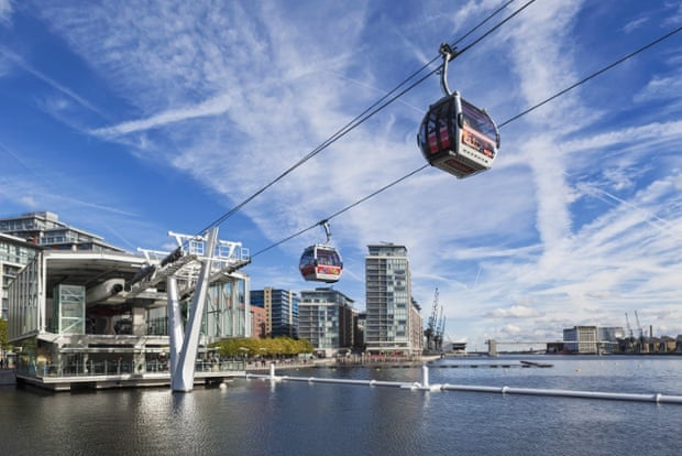 The Emirates Air Line cable car, which links the O2 in Greenwich to the Royal Docks and has cost the public at least £23m.
