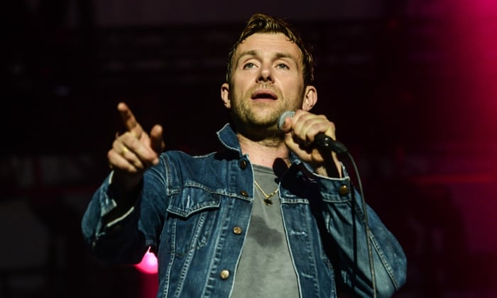 Damon Albarn on stage at Latitude Festival 2014