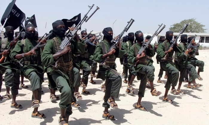 Al-Shabaab fighters train at their base south of the Somali capital of Mogadishu