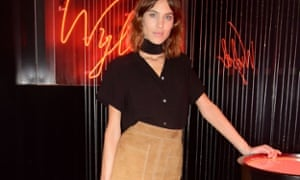 Alexa Chung wearing Mark's & Spencer's suede cowgirl skirt.