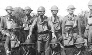 British soldiers wearing Edward Harrison's Small Box Respirators circa. 1917. Photograph: Simon Jones