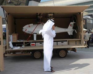 An Al Sabr unmanned aerial vehicle at the Idex arms fair in Abu Dhabi.