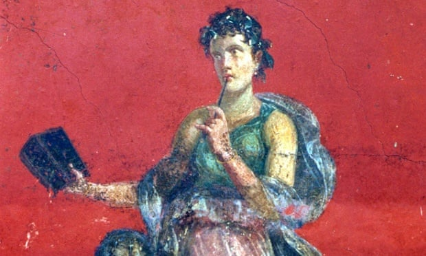 Detail from a fresco of Calliope, muse of epic poetry discovered in Pompeii