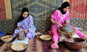 Two Berber women producing argan oil, Morocco, Africa