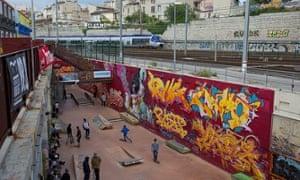 The skateboard park attached to the cultural centre La Friche in Belle de Mai.