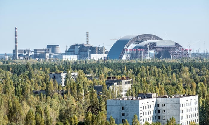 old and new construction called sarcophagus covering the nuclear reactor no. 4 in Chernobyl Nuclear Power Plant, Ukraine