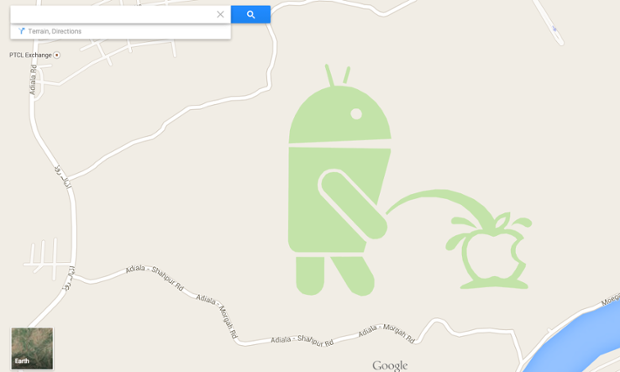 Android Urinating on Apple