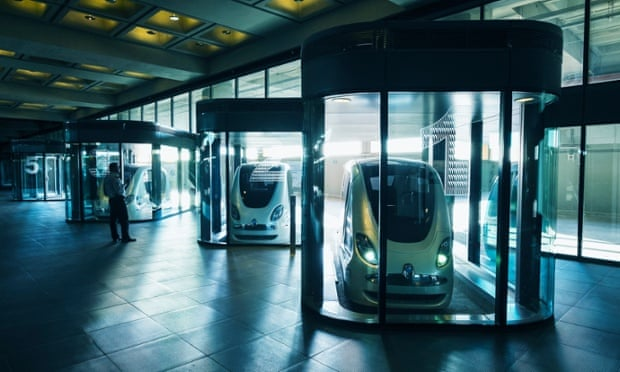Personal Rapid Transport cars on display at the Institute of Science and Technology in Masdar City, Abu Dhabi.