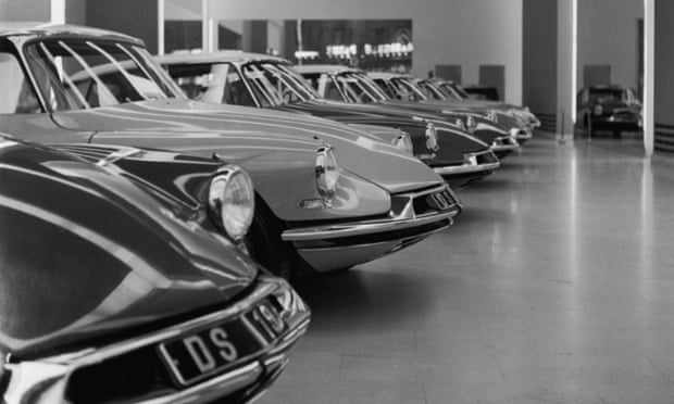 Citroen DS cars on display on the Champs Elysees in Paris in the mid-60s.