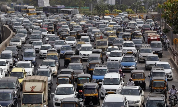 Traffic clogs a main road during Mumbai's hectic rush hour.