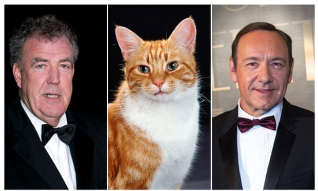 A litter-ny of feline films on the way ... Jeremy Clarkson, Shannon the cat and Kevin Spacey.