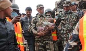 A baby boy was recovered alive