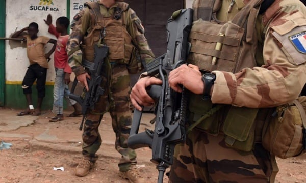 French soldiers on patrol in Bangui